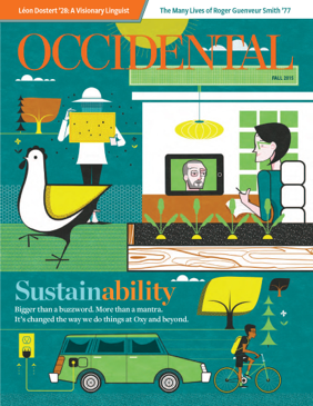 An illustration of a green home, electric car, and person riding a bicycle. Cover story: Sustainability