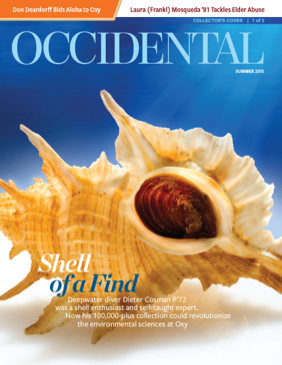 A large conical seashell. Cover story: Shell of a Find