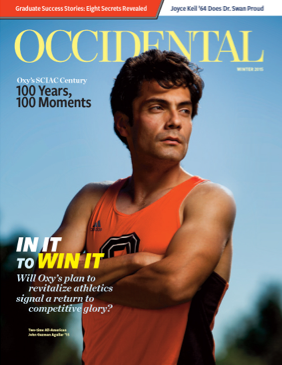 A track and field athlete stands in an Oxy jersey. Cover story: In It to Win It