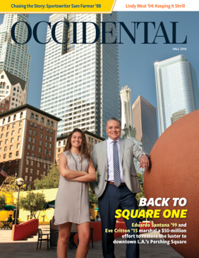 A man and woman stand in Pershing Square in Downtown Los Angeles. Cover Story: Back to Square One