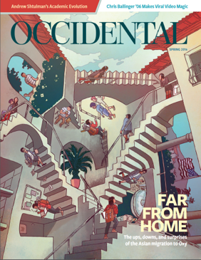 An illustration reminiscent of MC Escher with upside down staircases between buildings. Cover story: Far From Home