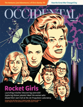 An illustration of female scientists flanked by a satellite and rocket ship. Cover story: Rocket Girls.