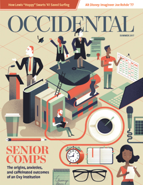An illustration of students working in a variety of disciplines. Cover story: Senior Comps.
