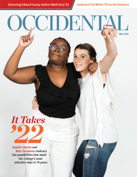 Two students from the class of 2022 pose with their arms around each other. Cover story: It Takes '22