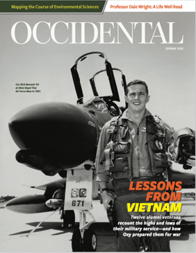 A black and white photo of a man standing in front of a fighter jet. Cover story: Lessons from Vietnam