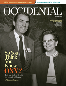 A black and white photo of a man and woman smiling. Cover story: So You Think You Know Oxy?