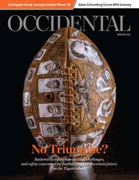 A football covered with old player photos. Cover story: No Triumphe?