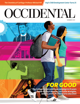 Two students walk in front of a colorful background. Cover story: For Good