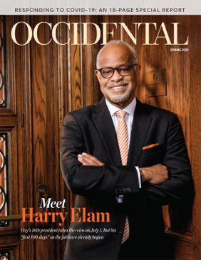 Occidental's new president Harry Elam stands sporting an Oxy orange tie. Cover story: Meet Harry Elam