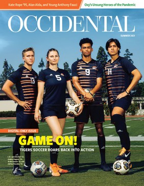 """Four student athletes stand on a green field. Cover story: """"Game On!"""""""