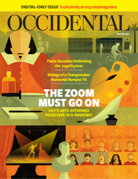 An illustration of Shakespeare with artistic symbols. Cover story: The Zoom Must Go On