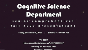Event flyer for 2020 Cognitive Science Department senior comps presentations
