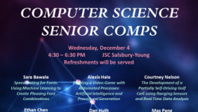 Event poster for Computer Science senior comps presentations