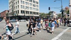 A street intersection in Pasadena, California