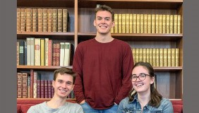 2020 Oxy Science Scholars Matt Aleksey, Gabe Gregory and Jackie Dall