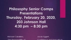 Event poster for Philosophy Senior Comps Presentation
