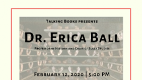 "Event poster for Dr. Erica Ball's discussion of ""Reconsidering Roots: Race, Politics, and Memory"""