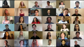 A screen shot showing 36 Glee Club Members singing individually from their homes