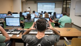 Music production class at Occidental College's highly ranked music program.