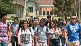 Occidental Upward Bound students walk across campus