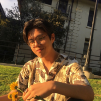 Louis Nguyen with flowers