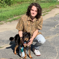 Will Black with a dog