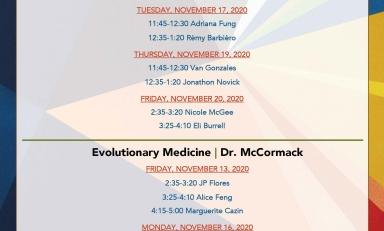 Fall 2020 Biology Senior Comps Schedule