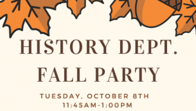 Event poster for the History party