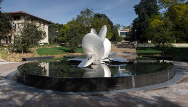 Gilman Fountain on Oxy's campus